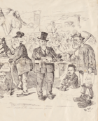Railway to Circular Quay: cartoon, image by Alfred Clint, image courtesy SLNSW