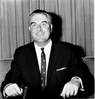 Portrait of Gough Whitlam taken during a press conference, Mascot, 23 July 1965, image by Bruce Adams, image courtesy SLNSW